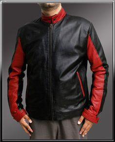 The Batman Dark Knight Crusader Genuine Leather Jacket Stylish Red Sleeves Black Leather Jacket-One of a kind jacket which is favorite among our customers. With it's bold looking collar with button closing adds a bikers...