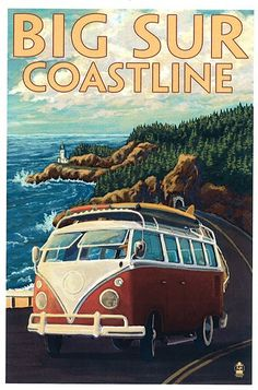 Ventura, California - VW Van Drive - Lantern Press ArtworkQuality Poster Prints Printed in the USA on heavy stock paper Crisp vibrant color image that is resistant to fading Standard size print, ready for framing Perfect for your home, office, or a gift Pub Vintage, Photo Vintage, Vintage Art, Vintage Style, Old Poster, Retro Poster, Drive Poster, California Vw, Ventura California