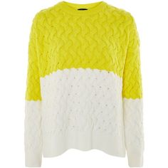 Topshop Plait Detail Jumper (155 PEN) ❤ liked on Polyvore featuring tops, sweaters, yellow, yellow sweater, woven sweater, acrylic sweater, topshop knitwear and knitwear sweater