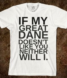 If My Great Dane Doesn't Like You Neither Will I T-Shirt from Glamfoxx Shirts