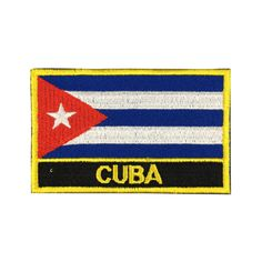 Cuba Flag Patch Embroidered Patch Gold Border Iron On patch Sew on Patch Bag Patch meet you on www.Fleckenworld.com