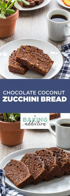 Chocolate Coconut Zucchini Bread has a perfect texture from the zucchini. The chocolate and coconut add an amazing richness. You'll make this one again and again! #ad #CriscoCreators