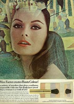 Haute - From Mademoiselle, July 1965 - Classic Max Factor Makeup Ad