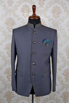 Ash #grey italian astonishing #slim fit #suit with mandarin #collar -ST361