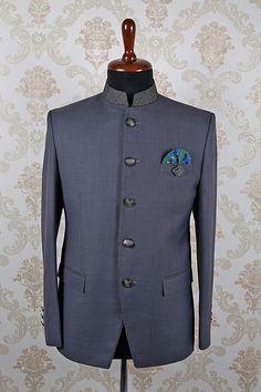 Ash #grey italian astonishing #slim fit #suit with mandarin #collar -ST361