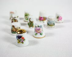 Vintage West Germany Porcelain Thimbles Collection of 10