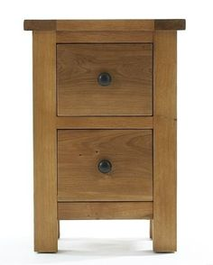 Ashover Solid Oak 2 Drawer Bedside Cabinet