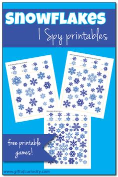 Free Snowflakes I Spy printable games for children with three levels of difficulty so you can tailor the activity to your child's developmental level. Snowflakes I Spy Katie @ Gift of Curiosity giftofcurio Winter Activities For Kids, Science Activities For Kids, Learning Activities, Games For Kids, Kids Learning, Winter Party Themes, Winter Theme, Free Preschool, Preschool Winter
