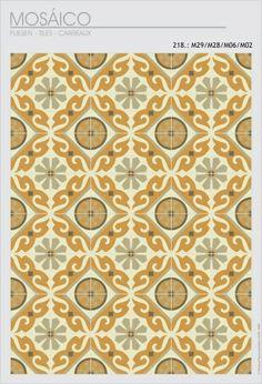Motifs carreaux de ciment Florale avec 4 couleurs chaude