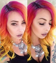 The hair color is cool, but glitter roots are seriously the stupidest trend ever.