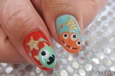 Adorable Monsters.    Nail Art Manicure