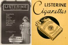 """Listerine was invented 133 years ago, first as a surgical antiseptic, but also as a cure for gonorrhea (don't try that at home). An article from 1888 recommends Listerine """"for sweaty feet, and soft corns, developing between the toes."""" Over the course of the next century, it was marketed as a refreshing additive to cigarettes, a cure for the common cold, and as a dandruff treatment. But it was in the 1920s that the powerful, germ-killing liquid finally landed on its most lucrative use as a…"""