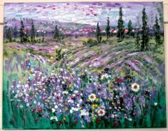 Original large abstract impressionism oil painting French Lavender Fields  20'