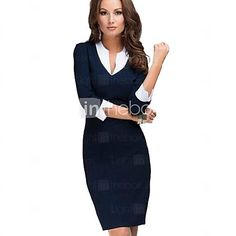 Women's Solid Blue Dress, Sheath/Vintage/Work Asymmetrical Collar ¾ Sleeve  - USD $12.99