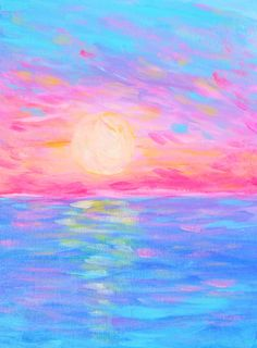 Original Acrylic painting by Hello Monday Design. 4th of July. Bright colorful neon sunset.