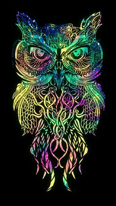 Colorful tribal owl galaxy iPhone/Android wallpaper I created for the app CocoPPa.