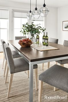 Portica Table with Walnut Top - Modern Dining Room Furniture - Room & Board Modern Dining Chairs, Dining Room Furniture, Dining Room Table, Room Chairs, Dining Area, Furniture Design, Beautiful Dining Rooms, Beautiful Kitchens, Dining Room Inspiration