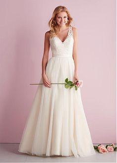 Amazing Tulle A-line V-neck Neckline Natural Waistline Wedding Dress #NovemberSales1