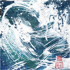 Les Vagues II, 2020 Ink, Waves, Ink Art