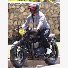 """David riding the motorcycle through Beverly Hill #davidbeckham"""
