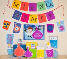 Make your Science party go with a bang with this Science Party Decorations & Props Printable Kit. This Science Collection is for girls, Mad Science Party, Mad Scientist Party, Science Fair, Science Experiments, Science Bottle, Fete Laurent, Coloring For Boys, Science Images, Party Bunting