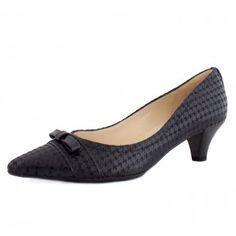 Donita Ladies Kitten Heel in Black Check
