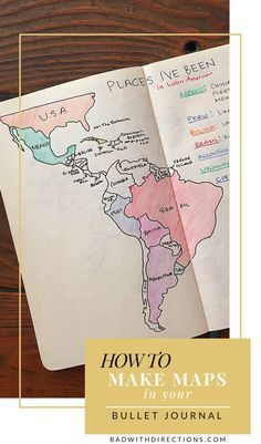 How to make maps in your bullet journal   Bad with Directions   Learn how to draw cute country/world maps in your bullet journal! They are pretty, artsy, and a nice reminder (and inspiration) to travel around the world. Travel inspo   Travel inspiration