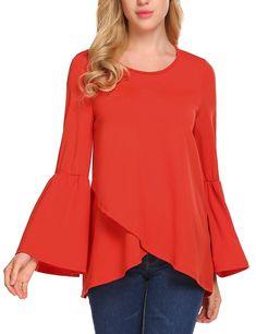 98ebf725817 Women s Casual Loose Bell Sleeve Blouse Top Double Layer Soild T-Shirt -  Orange - CP1889OELCI