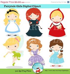 50 OFF SALE Fairytale Girls Digital Clipart / Cute by ClipArtopia, $2.50