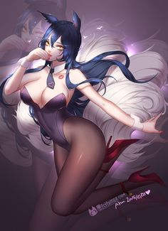 e621 ahri animal_humanoid big_breasts blue_hair breasts citemer cleavage clothed clothing female hair high_heels humanoid invalid_tag lagomorph league_of_legends legwear leotard long_hair mammal necktie pantyhose video_games