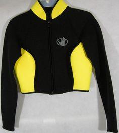 Body Glove Womens 9 10 Wetsuit Jacket Crop Neoprene 3mm Long Sleeve Black Yellow #BodyGlove