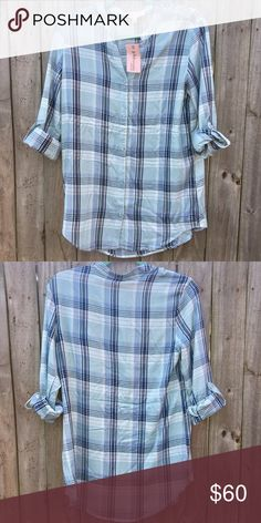 PHILOSOPHY Plaid-Blue Combo Shirt Sz Small 100% Viscose  ⚡️Fast Shipper⚡️ 💰15% Off 3+ Items💰 🍀Offers are Welcomed🍀 Philosophy Tops Button Down Shirts