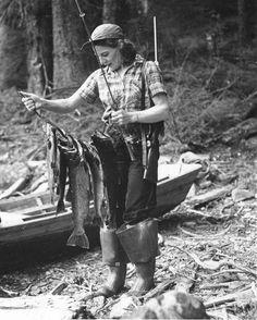 Vintage Photo of Woman Fishing - You Go Girl!