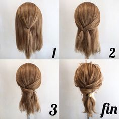 Coiffure facile Facile rapideYou can find Blonde brunette and more on our website. Medium Hair Styles, Curly Hair Styles, Easy Hairstyles For Medium Hair, Medium Hair Updo Easy, Updos For Medium Length Hair Tutorial, Low Pony Hairstyles, Easy Everyday Hairstyles, Hair Styles Work, Medium Hair Tutorials