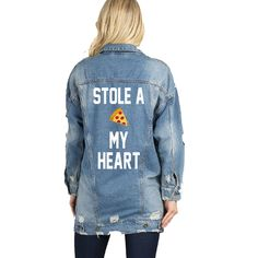 Stole a Pizza My Heart with Pizza Patch Long Oversized Denim Jacket Mid-Wash Vintage Inspired and Distressed Outerwear Jacket Distressed by ADashofChic on Etsy