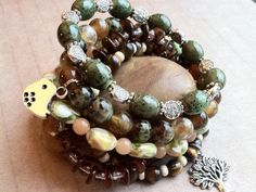 Bird in a Tree Earthy Stretch Bracelet Set by aonJewelryDesigns, $22.00