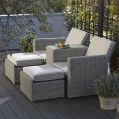 Praslin Rattan Effect Love Seat Sunlounger, 5052931287796