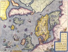 Antique map of northern Europe and Iceland, by Abraham Ortelius, 1570.