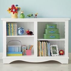 Kids' Bookcases: Kids Honey Cottage Style Low Beadboard Bookcase in Bookcases. Playroom storage. Land of Nod