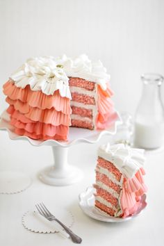 Strawberry Shindig Ruffle Cake for a Special Birthday, Recipe and Tutorial...lovely cake. She gives a great tutorial on how to make the ruffles.