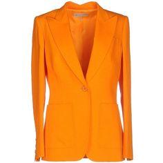 Emilio Pucci Blazer ($1,080) ❤ liked on Polyvore featuring outerwear, jackets, blazers, orange, collar jacket, long sleeve jacket, emilio pucci, blazer jacket and orange jacket