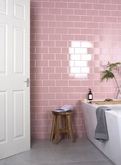 With their subtle crackle glaze, these Craquelure Rose Tiles have an revived aged appearance in a softer colour palette. They have a classic brick shaped design; ideal for breathing new life into a kitchen splashback, or a bathroom wall. Ideal Home Show, Pink Tiles, Colourful Bathroom Tiles, Brick Tiles Bathroom, Brick Tile Wall, Tadelakt, Rustic Bathrooms, Home Trends, House And Home Magazine