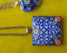 Mosaico de Flower Power colgante o llavero con un Milliflori