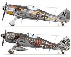 Focke-Wulf Fw 190 A-8/R6; probable W.Nr. 171172, 'Black 8' of 3./JGr 10, Redlin near Parchim, Germany, January 1945, Focke-Wulf Fw 190 A-8/R2; 'Red 10', flown by Ofw. Karl Rusack of 5./JG 300, Löbnitz, Germany, January 1945.