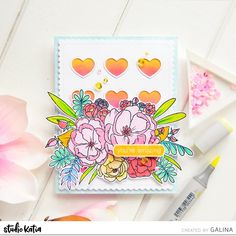 Today I want to share with you a card with bright colorful bouquet. For this card I created a background with hearts. I cut out a panel from white cardsctock and applied yellow and pin… Alcohol Markers, Friendship Cards, Tiny Heart, You're Awesome, Pastel Colors, I Card, Cardmaking, Bouquet, Paper Crafts