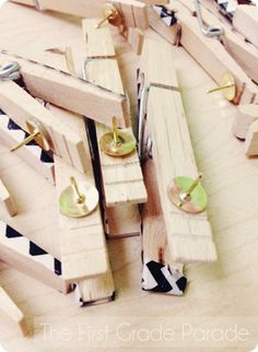 A Whole 'Lotta Back to School Teacher Ideas -- this little tip: hot glue thumbtacks to the back of decorated clothespins for easy-peasy decorative clips for bulletin boards