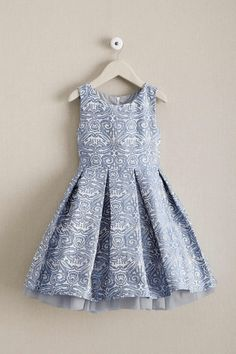Girls Pastel Brocade Dress - 1