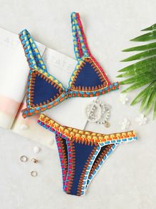 Crochet Trim Blue Bikini Set