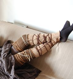 Leg Warmers in Brown and Beige