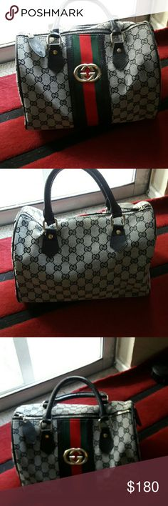 Gucci boston handbag Please no funny questions, its inspired and the front handles have cuts not very noticeable can be taken care of... no stains inside or outside  Overall in great shape   Its btw a speedy 25 and 30 Gucci Bags